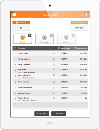 1 Waitlist Mobile App Call Customers By Name Customer